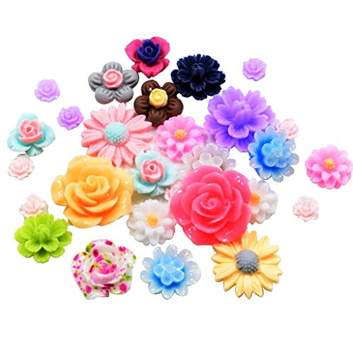 (100pcs Rose Flower Flatback Resin Embellishments Cabochons DIY Phone Case Hair Bow Center Crafts Stick On Beads for Jewelry Making DIY)