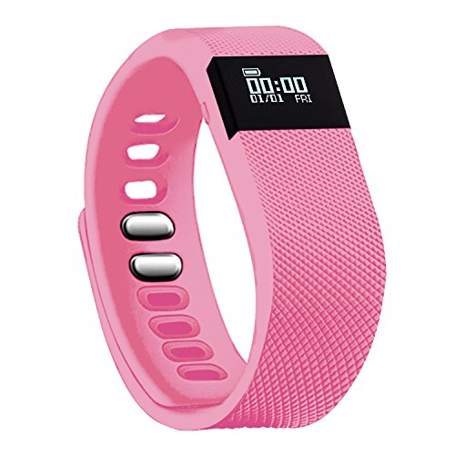 Fitness Tracker - Teslasz Bluetooth 4.0 Sleep Monitor Calorie Counter Pedometer Sport Activity Tracker for Android and IOS Smart Phone (Pink)