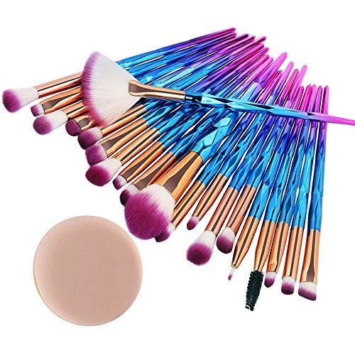 Start 20 pcs Makeup Brush Set tools Make-up Wool Kit 1PC Powder Puff(2018 Blue-Shipped From ()