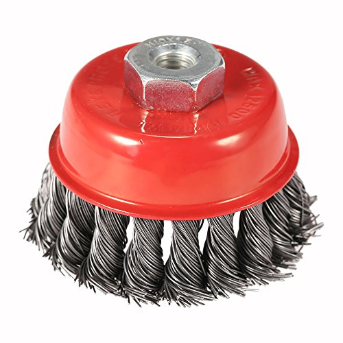 """KKmoon 75mm 3"""" Steel Wire Wheel Knotted Cup Brush Rotary Steel Wire Brush Crimp Cup Wheel For Angle Grinder"""