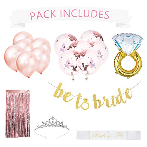 Rose Gold Bachelorette Party Decorations | Premium Bachelorette Shower Decorations Including 12 Balloons, 1 Tiara, 1 Ring Balloon, 1 Gold Banner, 1 Rose Gold Picture Background, and 1 Bride to Be Sash