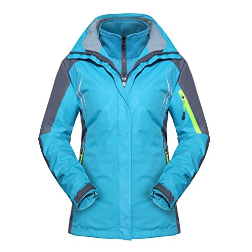 MAGCOMSEN Women's Outdoor 3 In 1 Waterproof Snowboarding Jacket Fleece Warm Raincoat