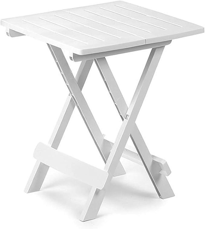 FineHome Mesa plegable para camping, mesa auxiliar, mesa de jardín, mesa de viaje, de plástico, en color blanco, 44 x 44 x 50 cm