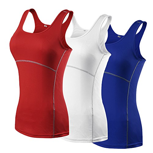 Extreme L/s Shirt - Secofly Women's 3 Pack Base Layer Racerback Tank Top (3 Pack: red, white, blue, Tag Size L (US Size M))