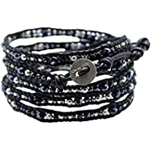 Chan Luu Black Mix Wrap Bracelet on Black Leather with Imitation-Pearl and Seed Beads