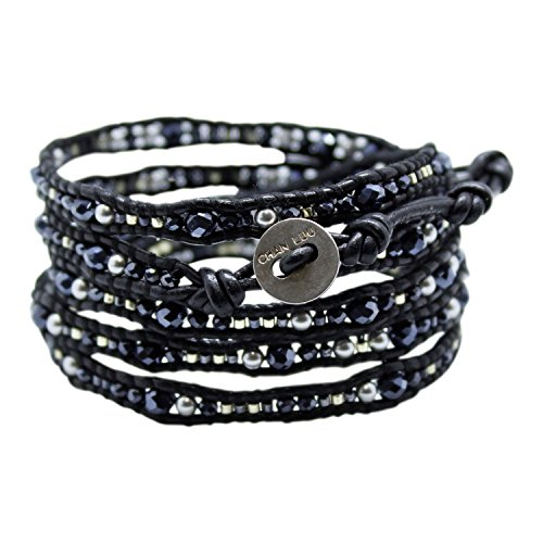 Chan Luu Black Mix Wrap Bracelet on Black Leather with Imitation-Pearl and Seed Beads by Chan Luu