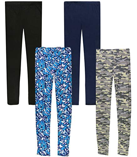 Only Girls Butter-Soft-Touch Printed Yummy Leggings (4-Pack) (Camo/Butterfly, 12)'