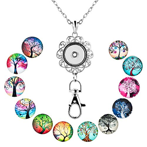 Mel Crouch Women Office Lanyard ID Badges Holder Necklaces Keychain with Snap Charms Clip Pendant (tree of life) -