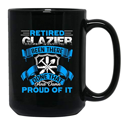 Retired Glazier Coffee Mug, Black Mug, Green Tea Cup 15 oz