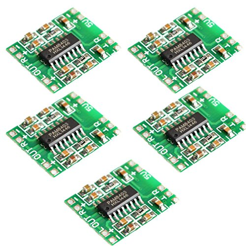CHENBO(TM)5PCS PAM8403 module Super board 2 * 3W Class D digital amplifier board efficient 2.5 to 5V USB power