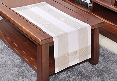 Just-Enjoy Lace Handmade Hemstitch Design Tablecloth Table Runner Placemats (1, 16x36'') (Runner Lace 36')
