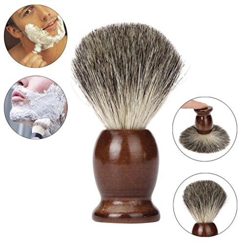 100% Pure Badger Shaving Brush With Hard Wood Handle For Men Father Barber Tool (Brown)