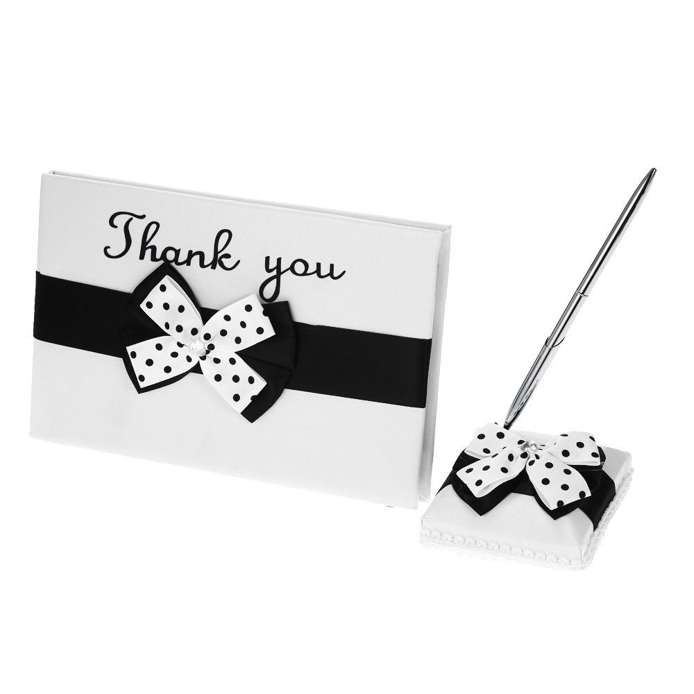Decdeal Satin Wedding Guset Signature Book and Pen Stand Set with White Black Bowknot