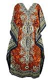 Indiatrendzs Women Dashiki Kaftans Light Viscose Kimono Kaftan Lounger Dress 56' (ORANGE)