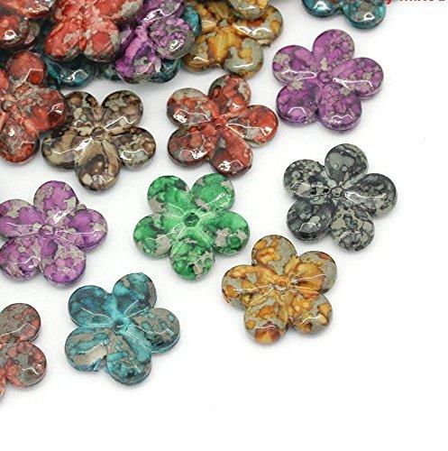 Rockin Beads 90 Acrylic Focal Flower Beads Randum Mix 20mm Approx 5/6 Inch Beads