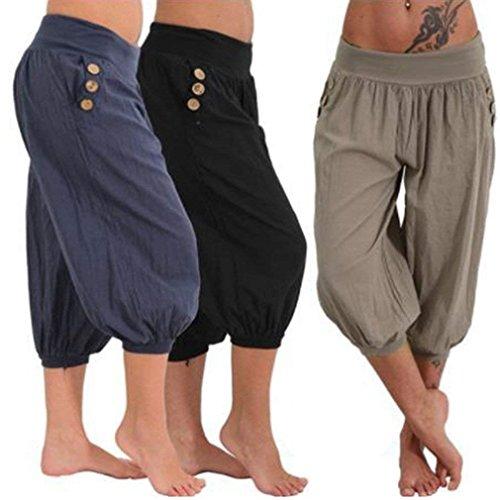 Moda Tasche Waistchic High Pantaloni Casuale Lounayy Estivi Jogging Con Donna Monocromo Nero Harem Capri Pantaloni Elegante Pantalone Pantaloni pq74O87