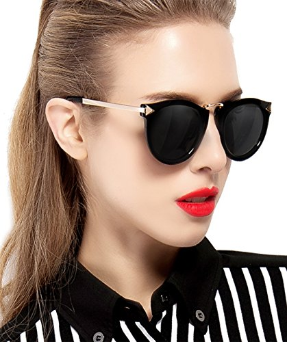 ATTCL Vintage Fashion Round Arrow Style Wayfarer Polarized Sunglasses for Women 11189 Black