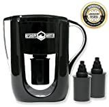 Homemade Water Filtration System Alkaline Water Pitcher With Fluoride Filter - 3.5 liter Negative ORP 6 Stage Filtration With 2 Replacement Filters - Removes Chlorine, Heavy Metals While Raising pH For Great Tasting Filtered Water