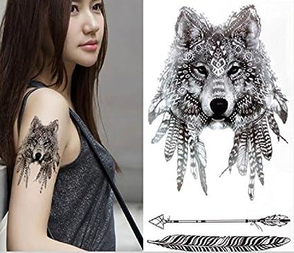 ND tatuaje temporal mujer Tattoo Ephemere Pegatina lobo negro ...