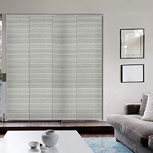 GoDear Design Deluxe Adjustable Sliding Panel 45.8″-86″ x 96″, 4-Rail, Pleated Natural Woven Fabric, Pigeon