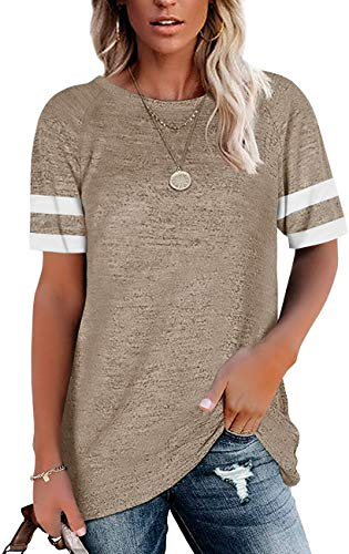 Womens Short Sleeve T Shirts Loose Tunic Tops Crewneck Color Block Casual Tee Shirts Blouses Black
