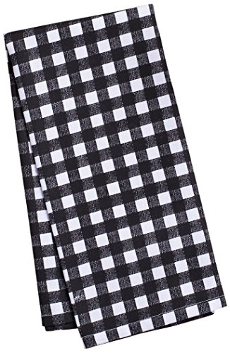 LinenTablecloth Black and White Checkered Kitchen Towels, 2-