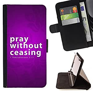 KingStore / Leather Etui en cuir / Samsung Galaxy S4 Mini i9190 / BIBLIA orar sin cesar - Tesalonicenses 5:17
