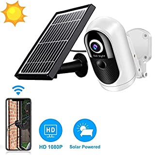 Solar Powered Wireless Home Security System, 1080P Outdoor WiFi Camera Surveillance Camera, Night Vision, Human Motion Detection, 2-Way Audio, SD/Cloud, IP65 Weatherproof