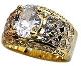 Brilliant Designer 18K Gold Overlay Men's Ring simulated White Sapphire Size 9 10 11 12 13 14