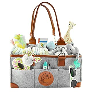 Newthinking Baby Diaper Caddy Organizer, Portable Large Diaper Caddy Tote with Changeable Compartments, Foldable Portable Car Travel Organizer for Changing Nappy, Newborn Shower Gift (Little Dolphin)
