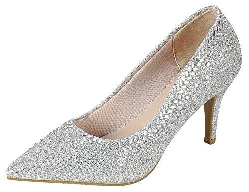 Cambridge Select Women's Closed Pointed Toe Glitter Crystal Rhinestone Stiletto High Heel Pump,5.5 B(M) US,Silver - Shoes Stiletto Designer