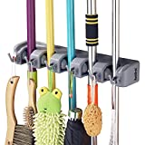 Mop Broom Holder, RockBirds T56 Multipurpose Wall Mounted Organizer, Ideal Broom Hanger for Kitchen, Garage, Warehouse(5 Position 6 Hooks)