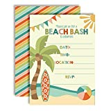 """Beach Bash Summer Birthday Party Invitations, 20 5""""x7"""" Fill in Cards with Twenty White Envelopes by AmandaCreation"""