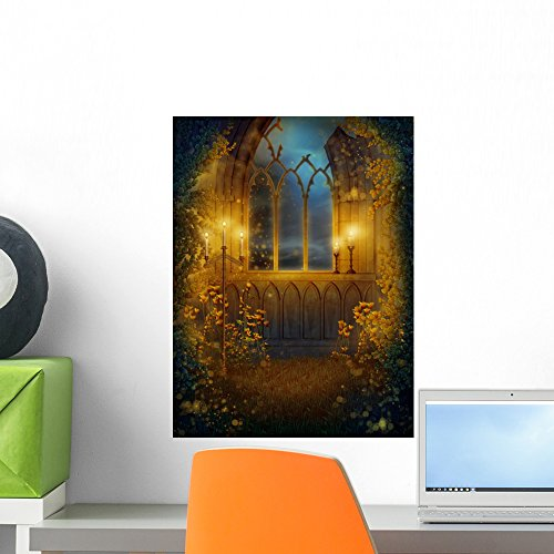 Window Ruins Castle with Wall Mural by Wallmonkeys Peel and Stick Graphic (18 in H x 14 in W) WM334854 (Castle Canvas Mural)