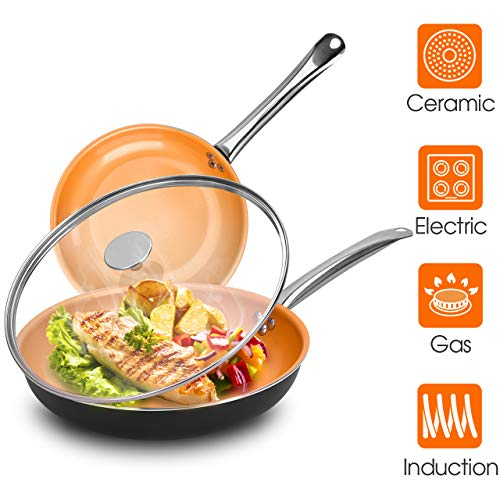 Frying Pan Sets Nonstick with Lid - 10 & 12-inch Ultra Nonstick Frying Pan Sets...