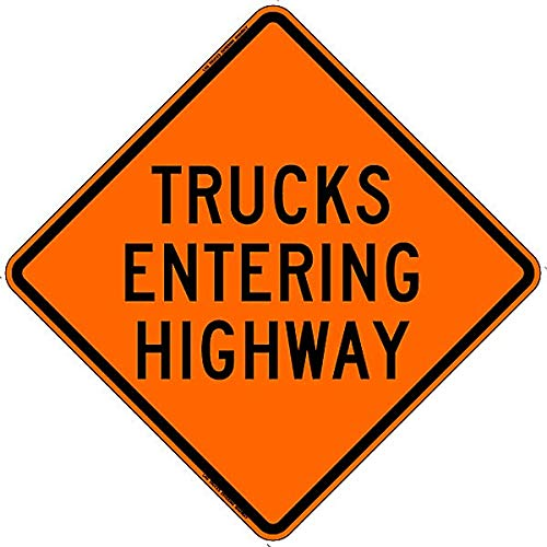 (SafeTruck by Ms. Carita Truck Entering Highway Safety Roadside Roll-Up Sign with Frames - 36