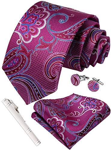 (DiBanGu Mens Fuchsia Paisley Tie Set Silk Wedding Necktie Pocket Square Cufflinks Tie Clip Set with Gift Box)