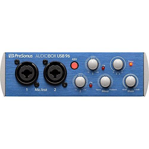 [해외]PreSonus AudioBox 96 USB 2.0 오디오 레코딩 인터페이스 및 액세서리 번들 w 스테레오 헤드폰 + Xpix 케이블 + 듀얼 MIDI 케이블 + Fibertiqe/PreSonus AudioBox 96 USB 2.0 Audio Recording Interface and Accessory Bundle w  Stereo Headphones ...