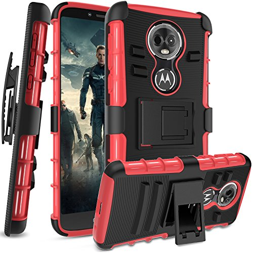 Moto E5 Plus Moto E5 Supra Case,Anoke Belt-Clip Holster Kickstand Hard PC Back Cover + Soft TPU Dual Layer Protection Defender Rugged Shockproof for Moto E5 Plus HT Red