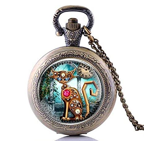 Reloj de bolsillo vintage Steampunk para gato, collar de reloj Steampunk, joyería Steampunk, relojes de bolsillo para gato, tiempo de cadena, para hombre: ...