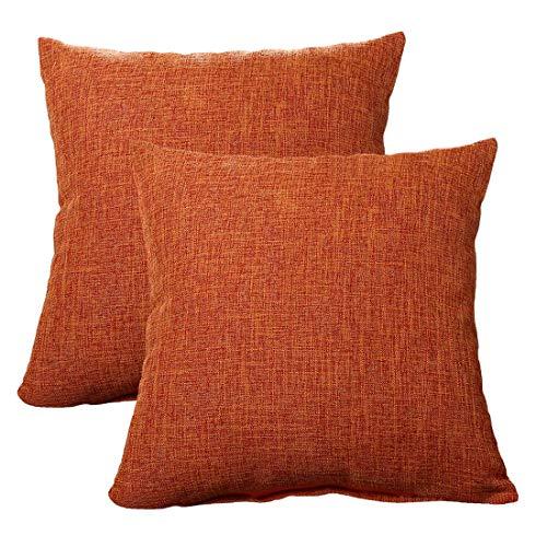 (ALHXF 2 Pack Burlap Linen Throw Pillow Cover 16