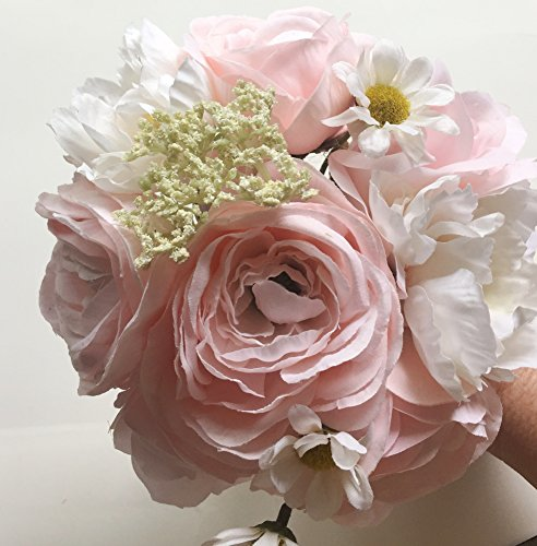 Barely Pink & White Ranunculus, Daisy, and Rose Small Bouquet,Bride, Bridesmaid, 8.5 inches ()