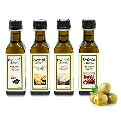 (Gourmet Olive Oil Gift Set | Certified Extra Virgin Olive Oil | 4-Pack 100ml Each Bottle | 100% Natural Flavors including Black Truffle with Garlic, Parmesan and Garlic, Butter, and Smokey Bacon)