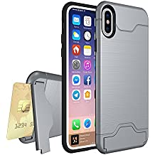 Zutoben for iPhone X Case Wire Drawing Shockproof Armor Case Card Slot Holder Protective Shell Kickstand (Gray)