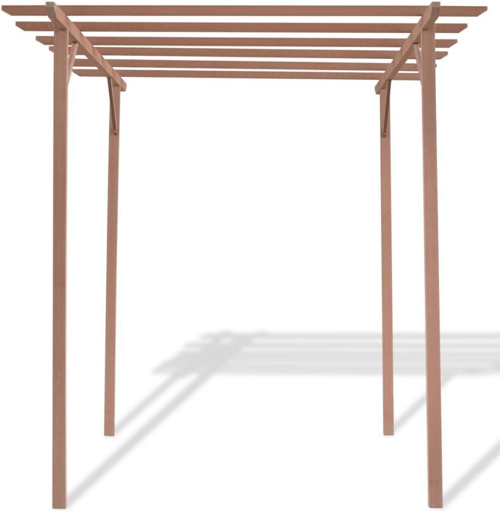 festnight Pergola madera marrón con 4 Postes para jardín ...