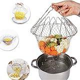 HN-KH03 Foldable Steam Rinse Strain Fry French Chef Basket Magic Basket Mesh Basket Strainer Net Kitchen Cooking Tool by AdvancedShop