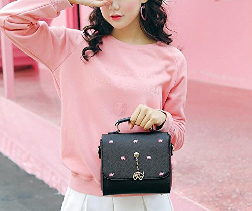 Girls' Mori Summer Square Olici Bag Joker Bag Satchel Cross Black Fashion Small Tide Bag qwI5S1