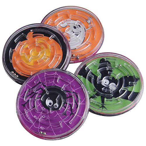 Lot Of 12 Assorted Halloween Round Mini Maze Puzzle Games