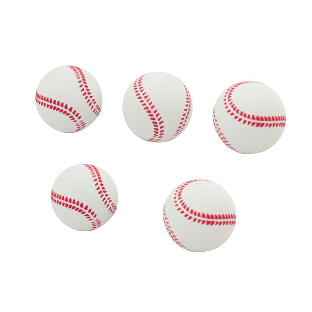TOYMYTOY Soft Baseball Rubber Practice Bounce Ball for Beginner Sports Training Exercise 2.5Inches 5PCS