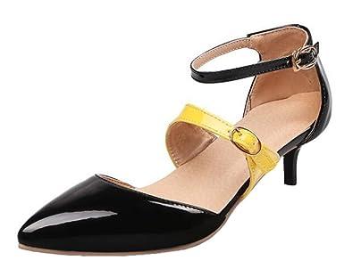 5b09d53fd8cc SHOWHOW Women s Stylish Rhinestone Pointed Toe Low Top Buckle Kitten Heel  Pumps Shoes Black 10 B